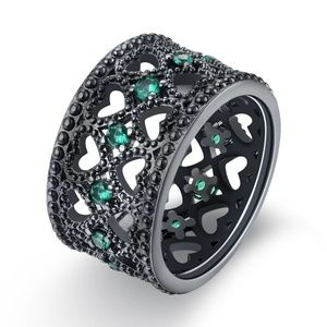 Jewelry - 18k Black Gold Plated Emerald Heart Eternity Ring